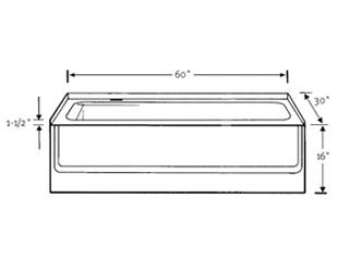 Bathtub dimensions inches bing images for Standard size of bathtub